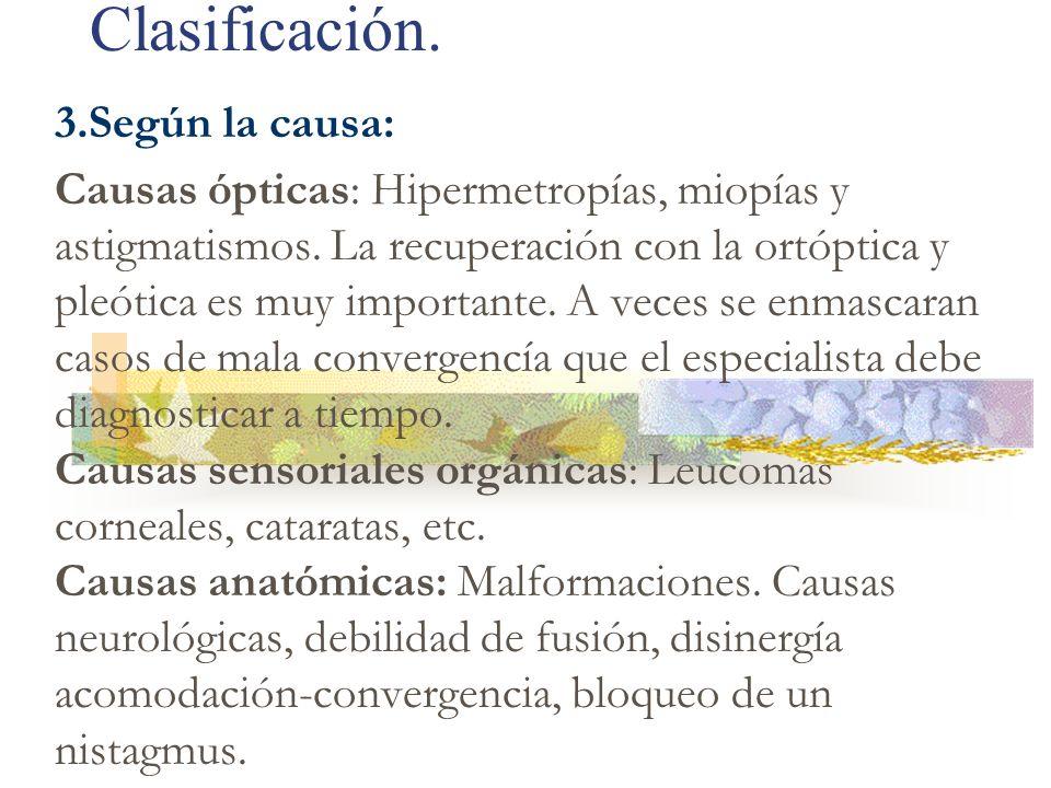 Clasificación. 3.Según la causa: Causas ópticas: Hipermetropías, miopías y astigmatismos. La recuperación con la ortóptica y pleótica es muy important