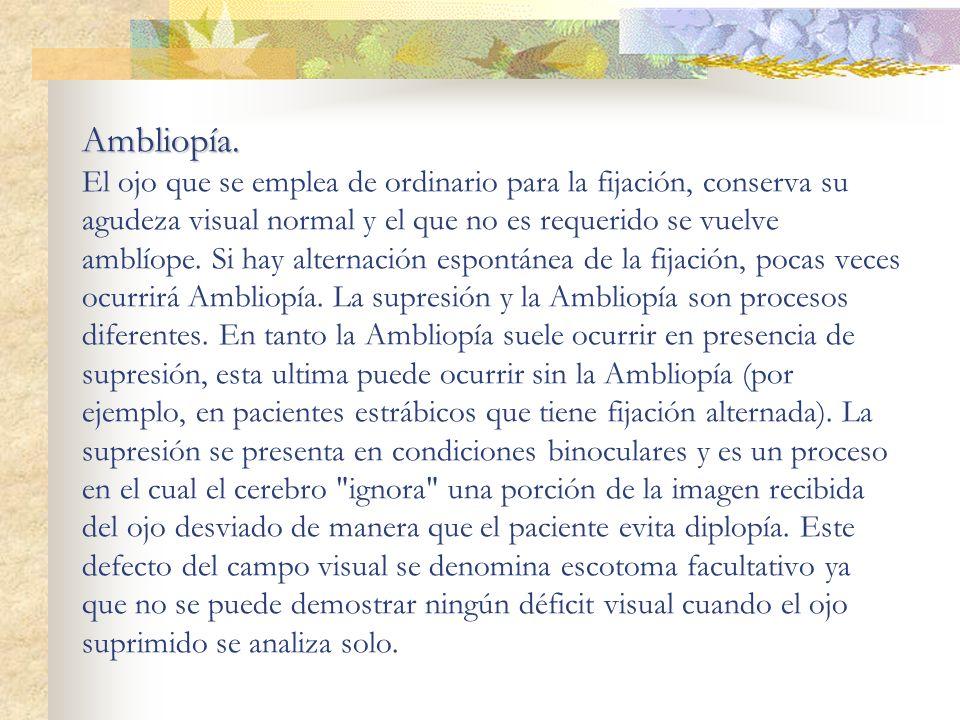 Ambliopía. Ambliopía. El ojo que se emplea de ordinario para la fijación, conserva su agudeza visual normal y el que no es requerido se vuelve amblíop