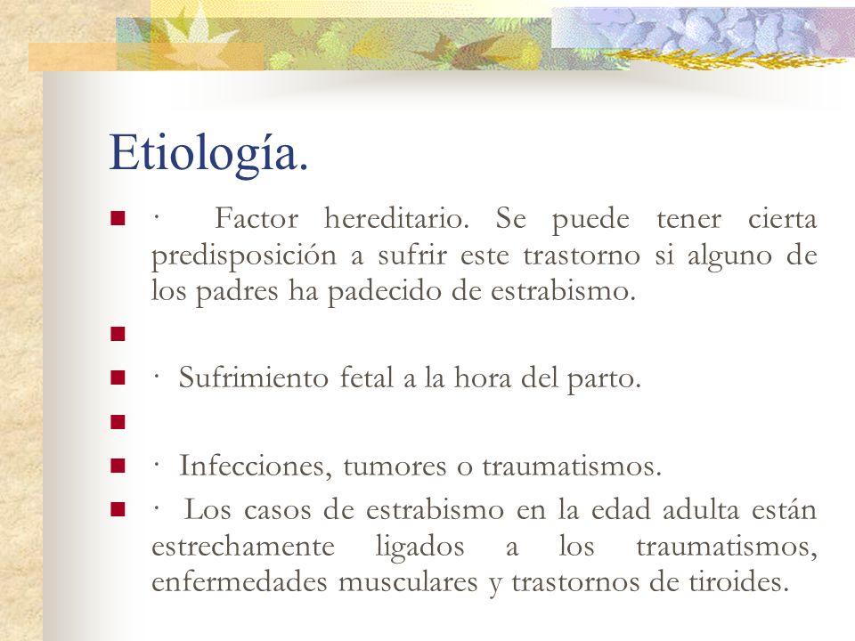 Etiología. · Factor hereditario. Se puede tener cierta predisposición a sufrir este trastorno si alguno de los padres ha padecido de estrabismo. · Suf