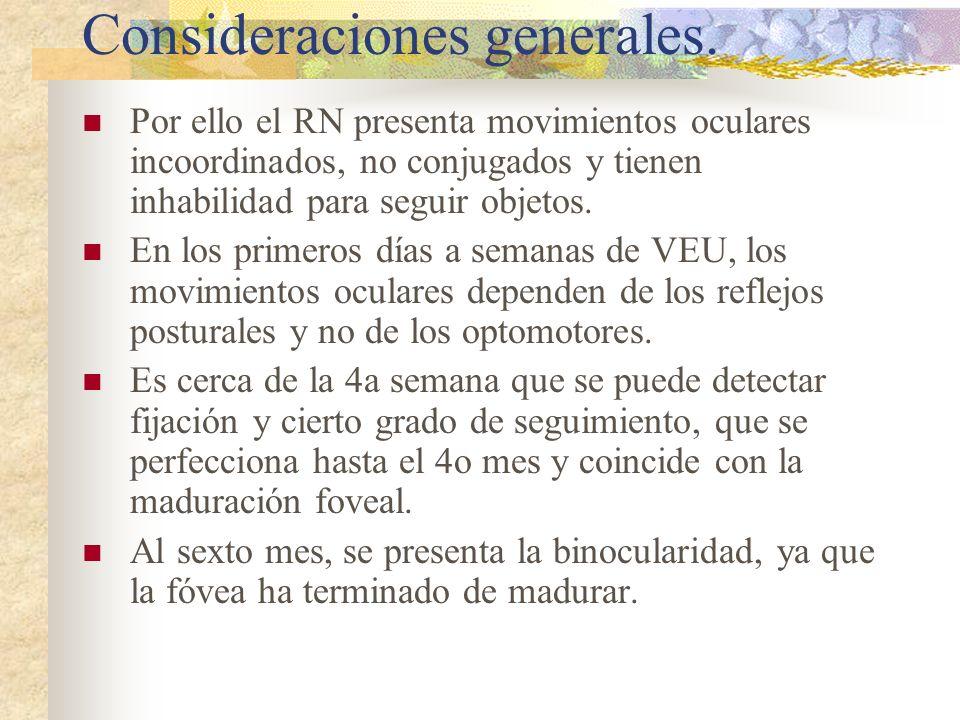 Consideraciones generales. Por ello el RN presenta movimientos oculares incoordinados, no conjugados y tienen inhabilidad para seguir objetos. En los
