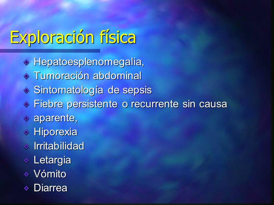 Lactancia Fiebre persistente o recurrente sin causa aparente,HiporexiaIrritabilidadLetargiaVómito Diarrea