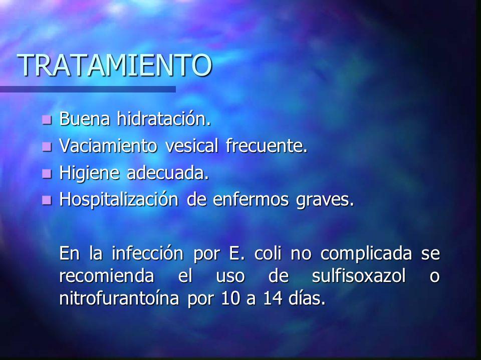 TRATAMIENTO Antimicrobianos Dosis niños Dosis adultos Elección para: Dicloxacilina 100-200 mg/kg/día 2-4 g/día Estafilococo Ampicilina 100 mg/kg/día 4-6 g/día Proteus mirabilis Cefalosporinas 100 mg/kg/día 2-4 g/día Estafilococo Gentamicina 3-7 mg/kg/día 160-240 mg/día Proteus morgani, Vulgaris, rettgeri, Pseudomonas Amikacina 15 mg/kg/día 500 mg/día Klebsiella, E.coli, Serratia Sulfisoxazol 100-200 mg/kg/día 4-6 mg/día Enterobacterias TMP/SMZ 10-50 mg/kg/día Enterobacterias Nitrofurantoína 5-7 mg/kg/día Enterobacterias Ac.Clavulánico/Amoxicilina 50 mg/kg/día 1-2 g/día Bacterias productoras de betalactamasa