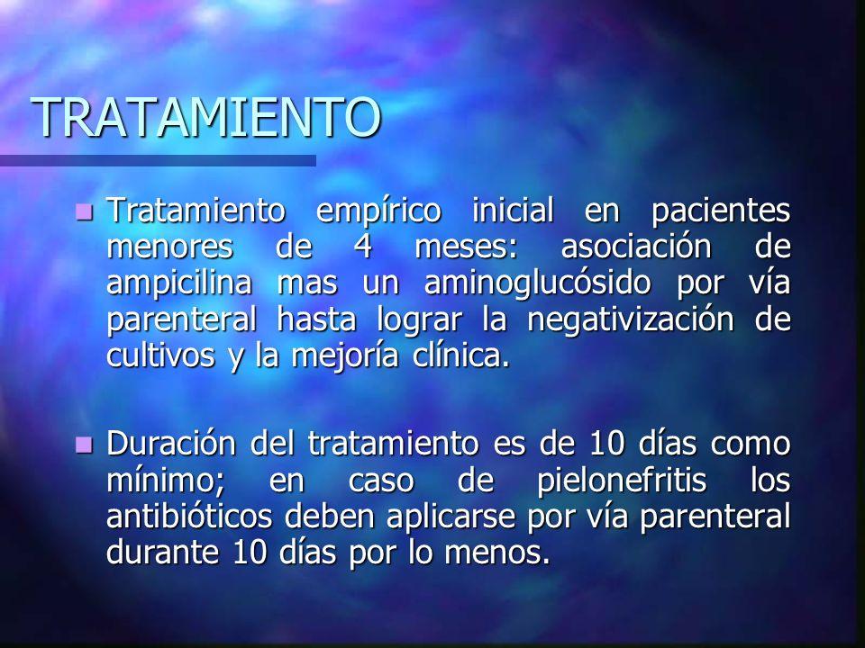 TRATAMIENTO En mayores de 4 meses se recomienda otro esquema: En mayores de 4 meses se recomienda otro esquema: Pielonefritis Ampicilina 100 mg/kg/día en 3-4 dosis IV o IM + aminoglucósido 3 dosis Ampicilina 100 mg/kg/día en 3-4 dosis IV o IM + aminoglucósido 3 dosis Ampicílina + cefotaxima 100-150 mg/kg 3 dosis IV Ampicílina + cefotaxima 100-150 mg/kg 3 dosis IV TMP/SMZ 8-40 mg/kg/día en 2 dosis VO TMP/SMZ 8-40 mg/kg/día en 2 dosis VO