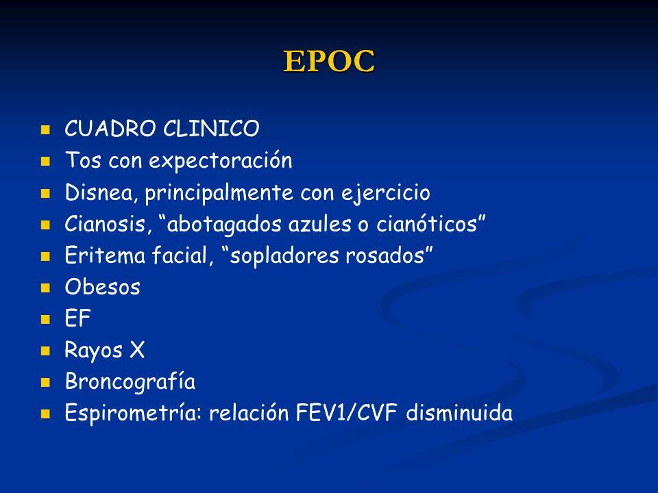 EPOC CUADRO CLINICO Tos con expectoración Disnea, principalmente con ejercicio Cianosis, abotagados azules o cianóticos Eritema facial, sopladores ros