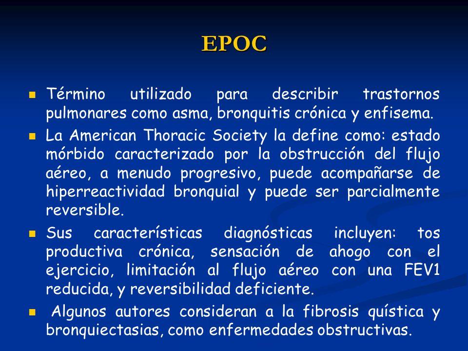 EPOC Término utilizado para describir trastornos pulmonares como asma, bronquitis crónica y enfisema. La American Thoracic Society la define como: est