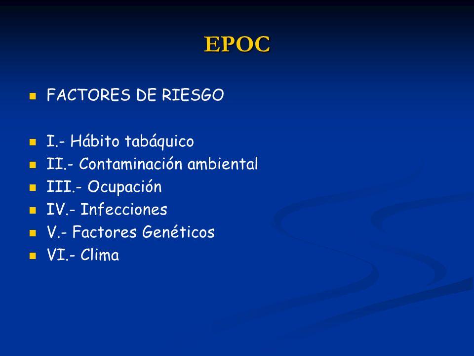 EPOC FACTORES DE RIESGO I.- Hábito tabáquico II.- Contaminación ambiental III.- Ocupación IV.- Infecciones V.- Factores Genéticos VI.- Clima