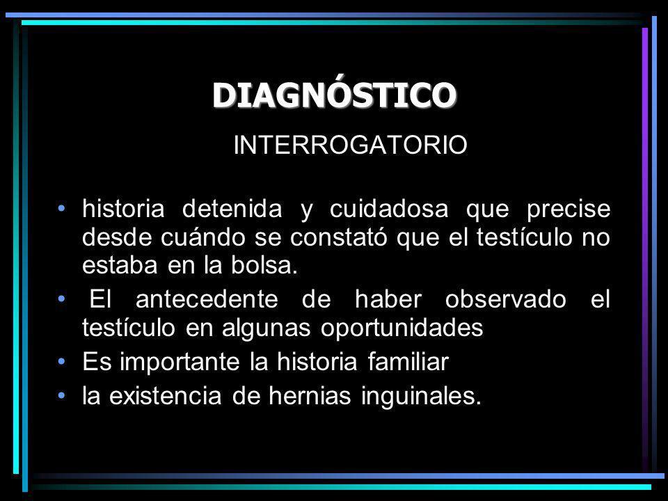 DIAGNÓSTICO INTERROGATORIO historia detenida y cuidadosa que precise desde cuándo se constató que el testículo no estaba en la bolsa. El antecedente d