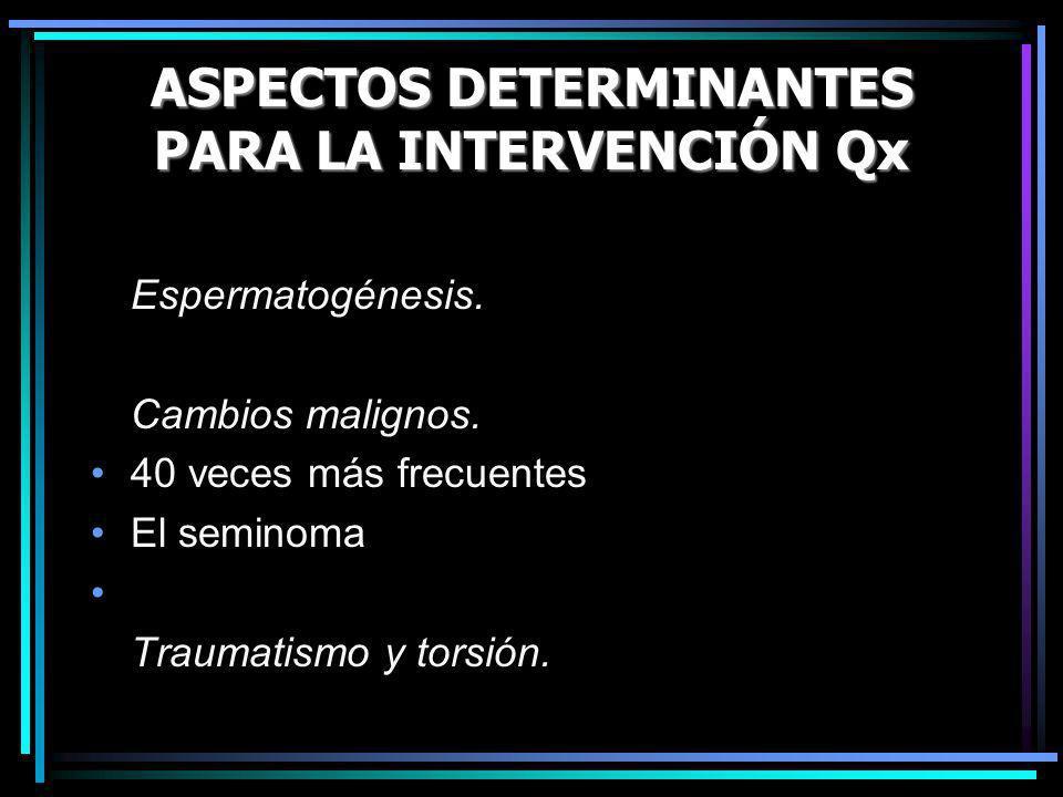 ASPECTOS DETERMINANTES PARA LA INTERVENCIÓN Qx Espermatogénesis. Cambios malignos. 40 veces más frecuentes El seminoma Traumatismo y torsión.