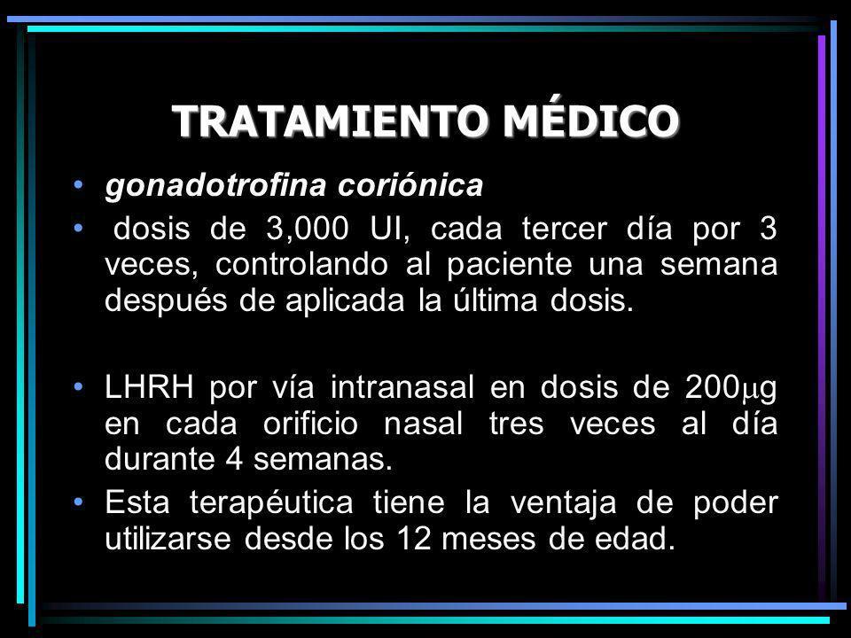 TRATAMIENTO MÉDICO gonadotrofina coriónica dosis de 3,000 UI, cada tercer día por 3 veces, controlando al paciente una semana después de aplicada la ú