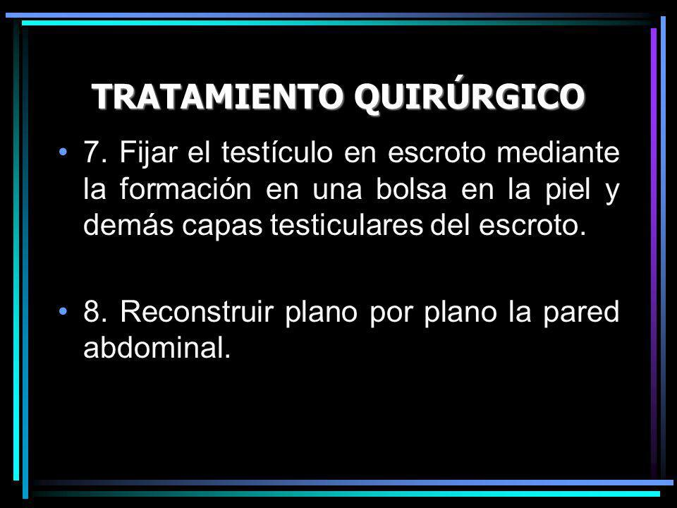 TRATAMIENTO QUIRÚRGICO 7. Fijar el testículo en escroto mediante la formación en una bolsa en la piel y demás capas testiculares del escroto. 8. Recon