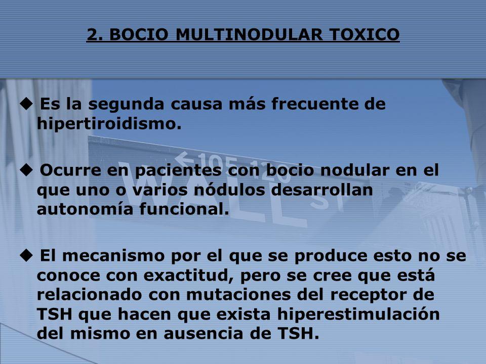 2. BOCIO MULTINODULAR TOXICO Es la segunda causa más frecuente de hipertiroidismo. Ocurre en pacientes con bocio nodular en el que uno o varios nódulo