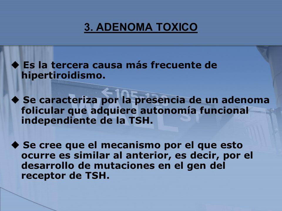 3. ADENOMA TOXICO Es la tercera causa más frecuente de hipertiroidismo. Se caracteriza por la presencia de un adenoma folicular que adquiere autonomía