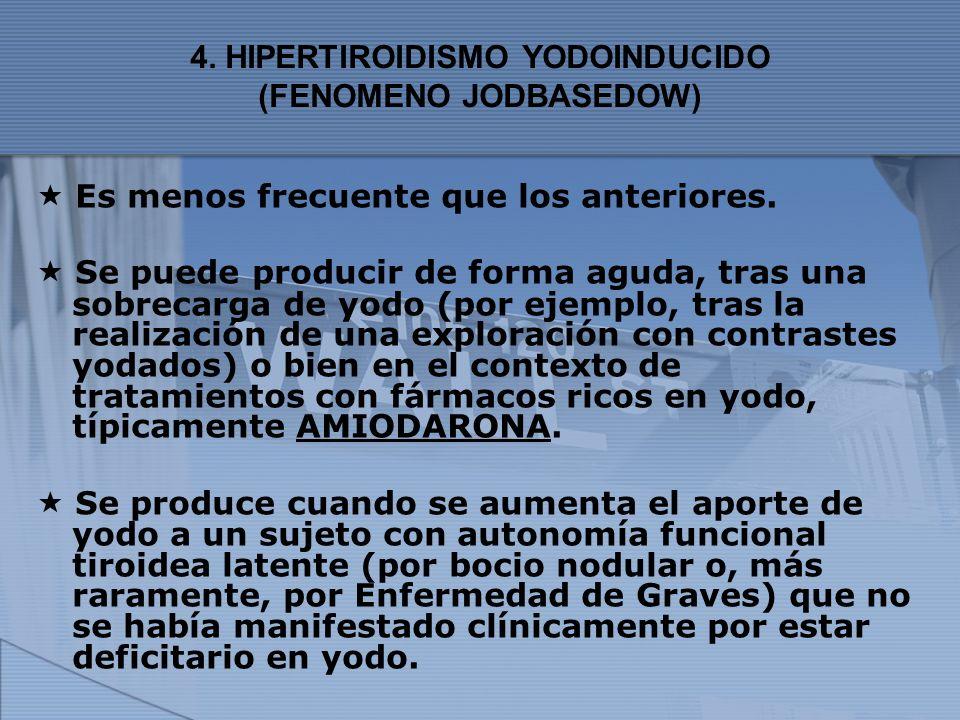 4. HIPERTIROIDISMO YODOINDUCIDO (FENOMENO JODBASEDOW) Es menos frecuente que los anteriores. Se puede producir de forma aguda, tras una sobrecarga de