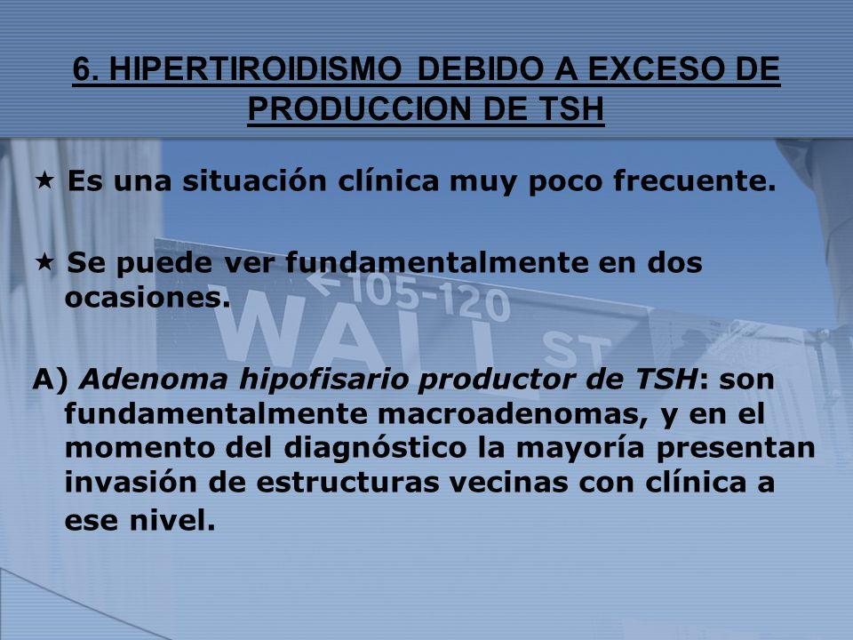 6. HIPERTIROIDISMO DEBIDO A EXCESO DE PRODUCCION DE TSH Es una situación clínica muy poco frecuente. Se puede ver fundamentalmente en dos ocasiones. A