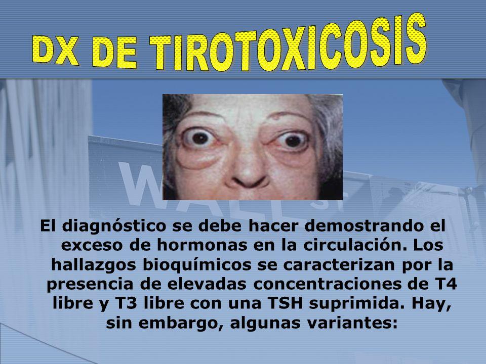 El diagnóstico se debe hacer demostrando el exceso de hormonas en la circulación.