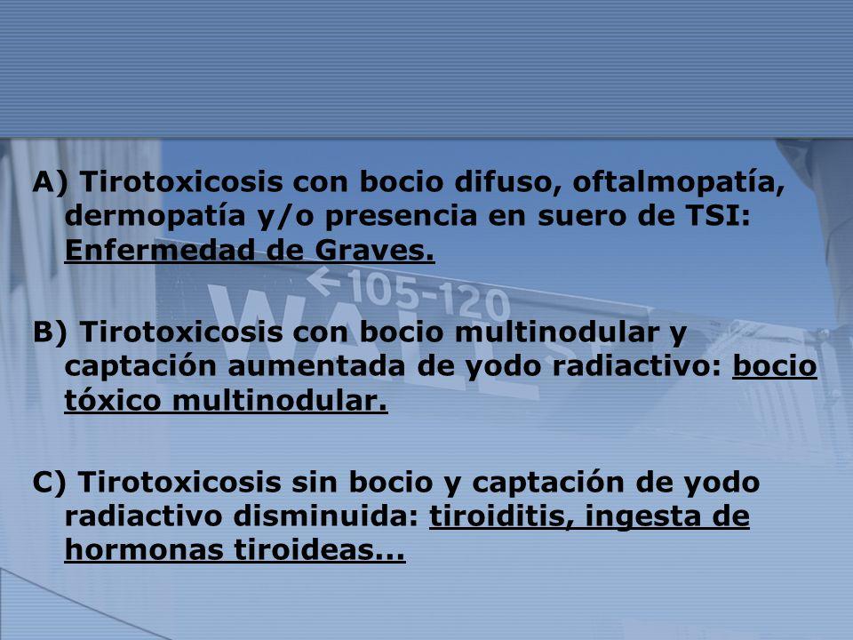 A) Tirotoxicosis con bocio difuso, oftalmopatía, dermopatía y/o presencia en suero de TSI: Enfermedad de Graves. B) Tirotoxicosis con bocio multinodul
