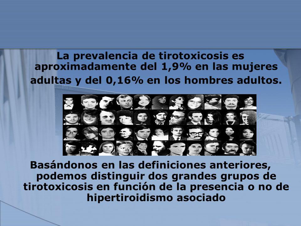 La prevalencia de tirotoxicosis es aproximadamente del 1,9% en las mujeres adultas y del 0,16% en los hombres adultos. Basándonos en las definiciones