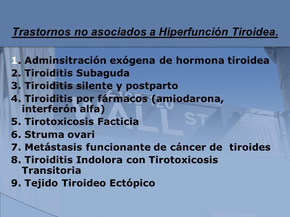 Trastornos no asociados a Hiperfunción Tiroidea. 1. Adminsitración exógena de hormona tiroidea 2. Tiroiditis Subaguda 3. Tiroiditis silente y postpart