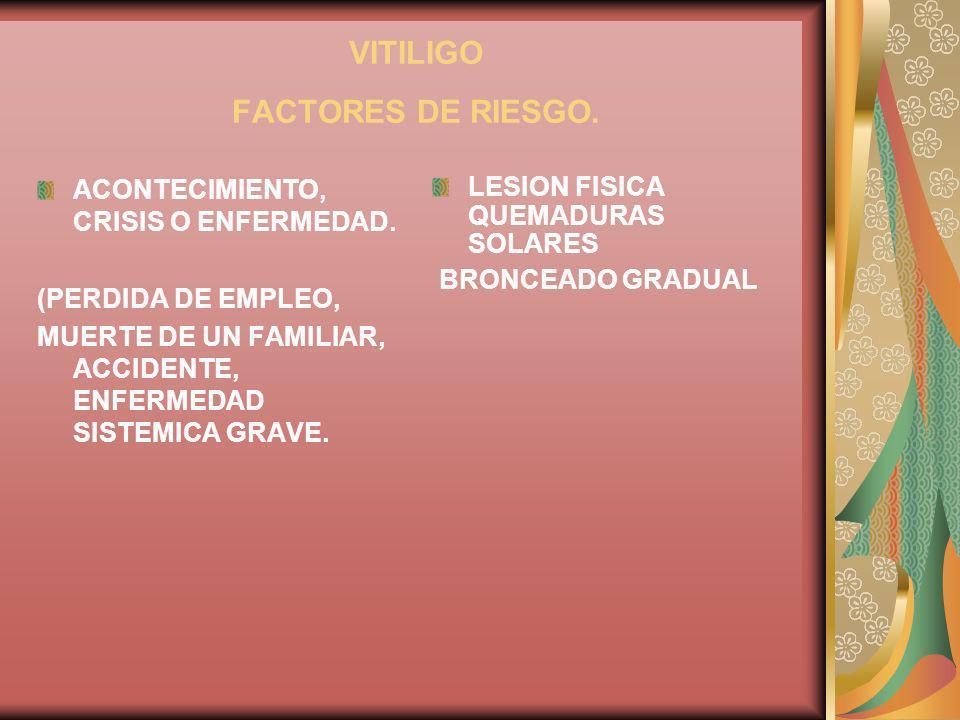 VITILIGO FACTORES DE RIESGO. ACONTECIMIENTO, CRISIS O ENFERMEDAD. (PERDIDA DE EMPLEO, MUERTE DE UN FAMILIAR, ACCIDENTE, ENFERMEDAD SISTEMICA GRAVE. LE