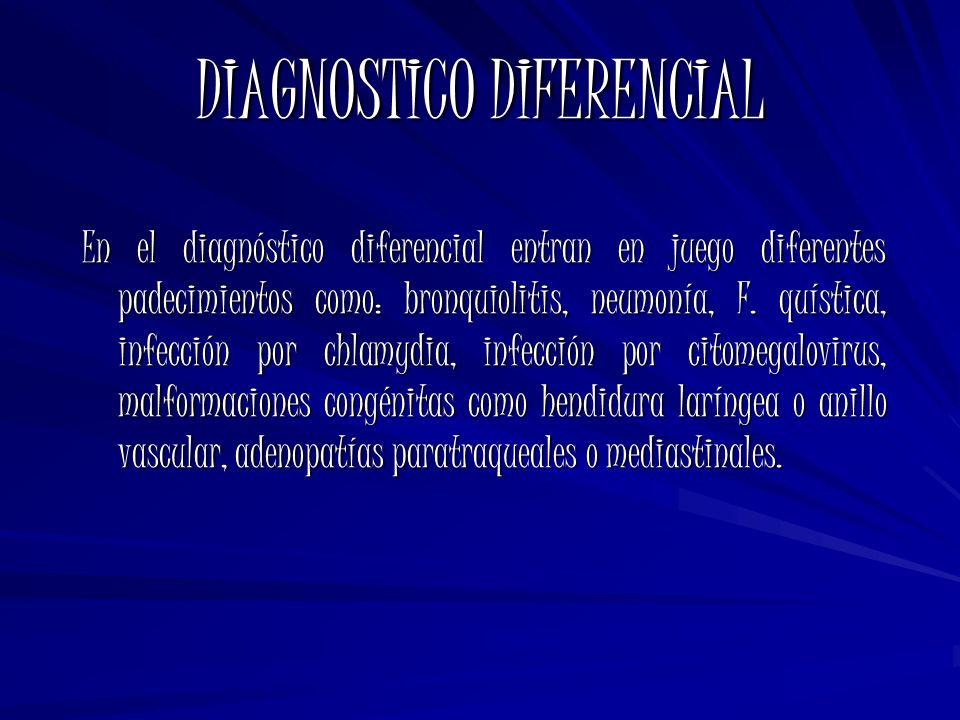 DIAGNOSTICO DIFERENCIAL En el diagnóstico diferencial entran en juego diferentes padecimientos como: bronquiolitis, neumonía, F. quística, infección p