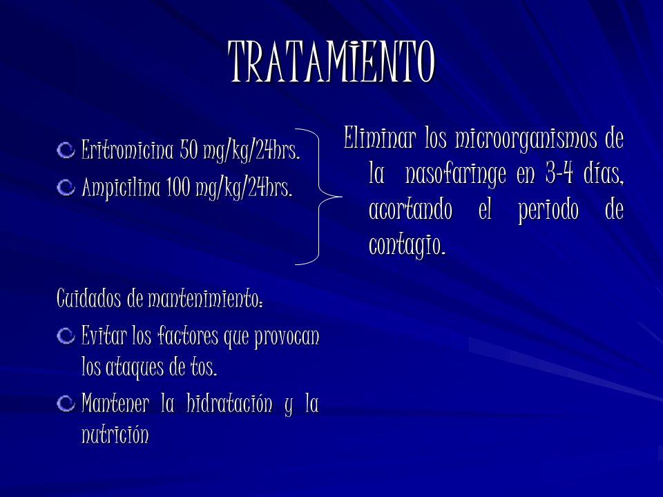 TRATAMIENTO Eritromicina 50 mg/kg/24hrs. Ampicilina 100 mg/kg/24hrs. Cuidados de mantenimiento: Evitar los factores que provocan los ataques de tos. M