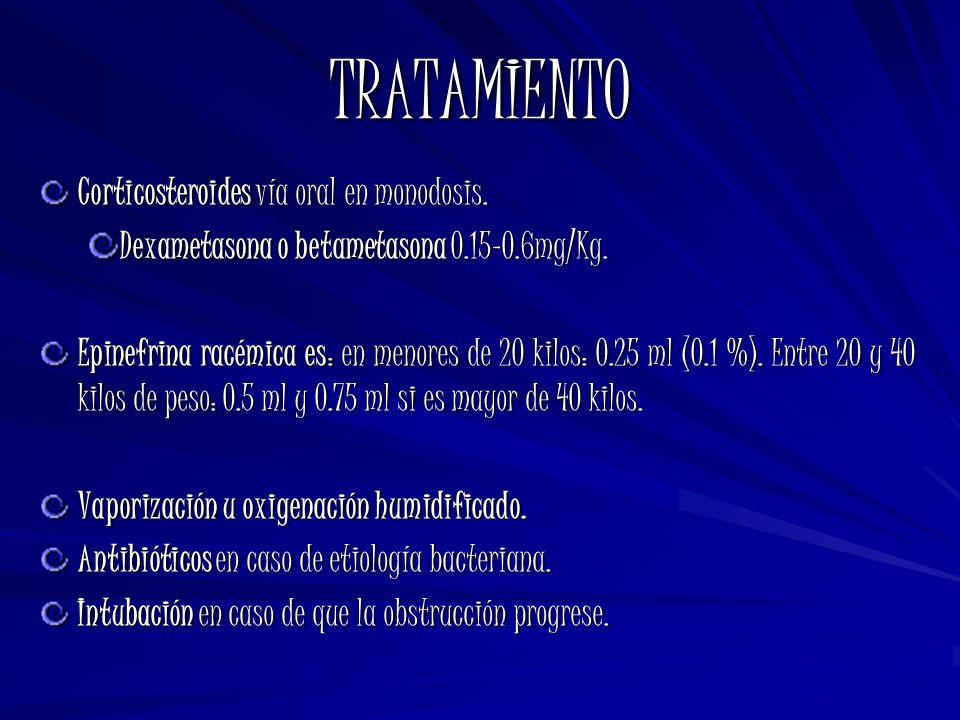 TRATAMIENTO Corticosteroides vía oral en monodosis. Dexametasona o betametasona 0.15-0.6mg/Kg. Epinefrina racémica es: en menores de 20 kilos: 0.25 ml