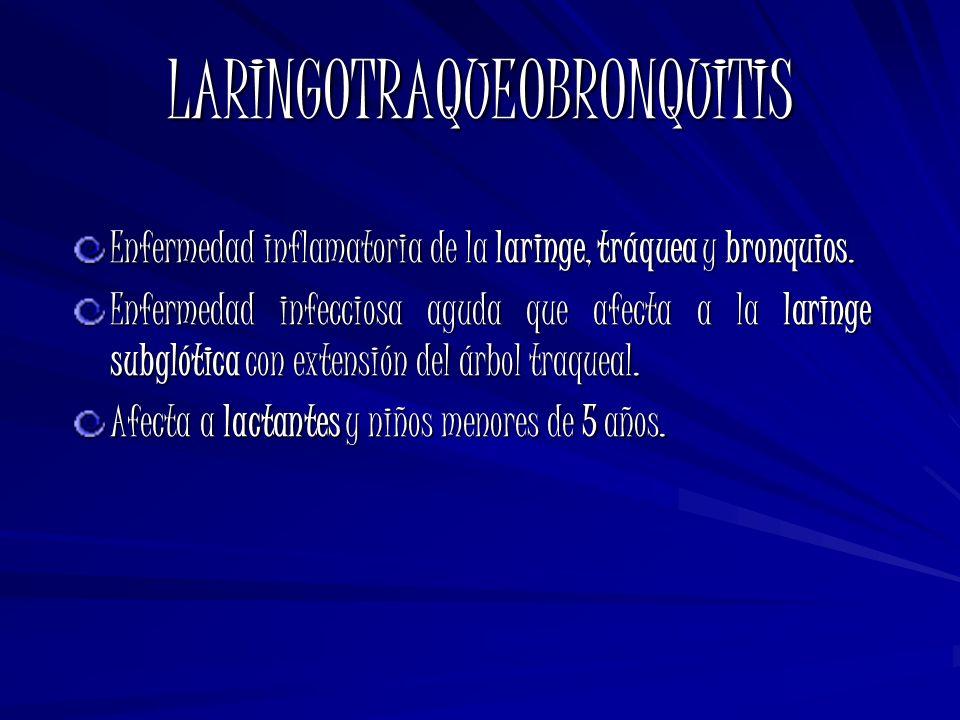LARINGOTRAQUEOBRONQUITIS Enfermedad inflamatoria de la laringe, tráquea y bronquios. Enfermedad infecciosa aguda que afecta a la laringe subglótica co