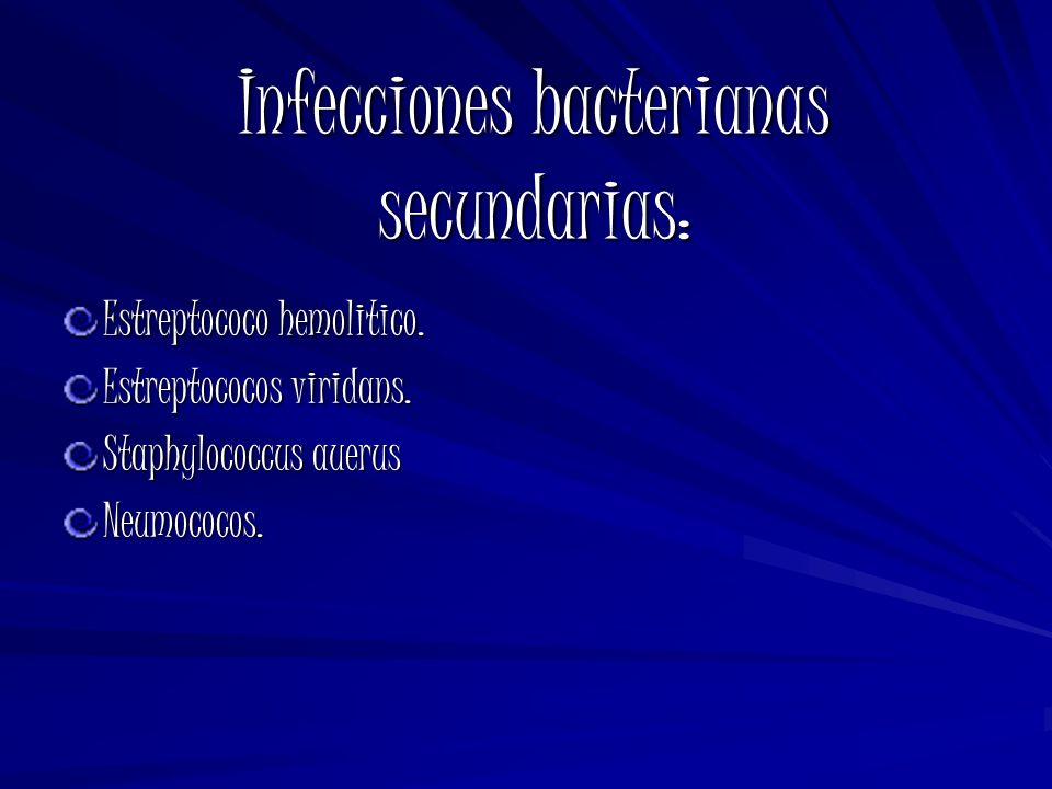 Infecciones bacterianas secundarias: Estreptococo hemolitico. Estreptococos viridans. Staphylococcus auerus Neumococos.