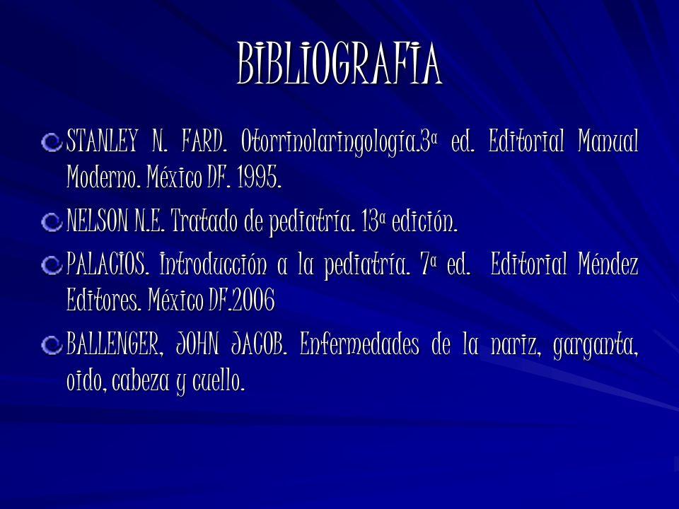 BIBLIOGRAFIA STANLEY N. FARD. Otorrinolaringología.3ª ed. Editorial Manual Moderno. México DF. 1995. NELSON N.E. Tratado de pediatría. 13ª edición. PA