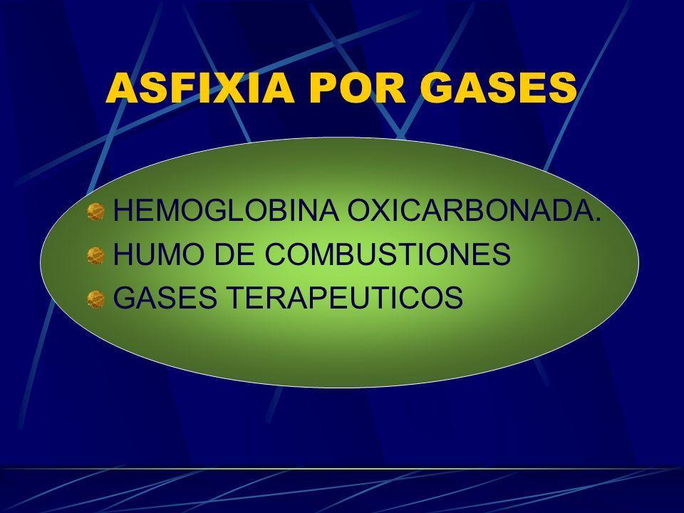 ASFIXIA POR GASES HEMOGLOBINA OXICARBONADA. HUMO DE COMBUSTIONES GASES TERAPEUTICOS