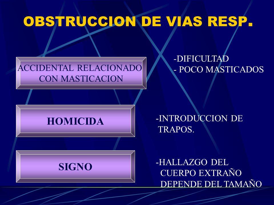 OBSTRUCCION DE VIAS RESP. ACCIDENTAL RELACIONADO CON MASTICACION SIGNO HOMICIDA -DIFICULTAD - POCO MASTICADOS -INTRODUCCION DE TRAPOS. -HALLAZGO DEL C