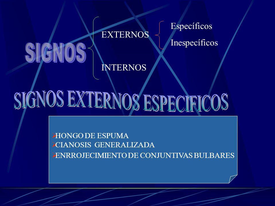 EXTERNOS INTERNOS Específicos Inespecíficos HONGO DE ESPUMA CIANOSIS GENERALIZADA ENRROJECIMIENTO DE CONJUNTIVAS BULBARES