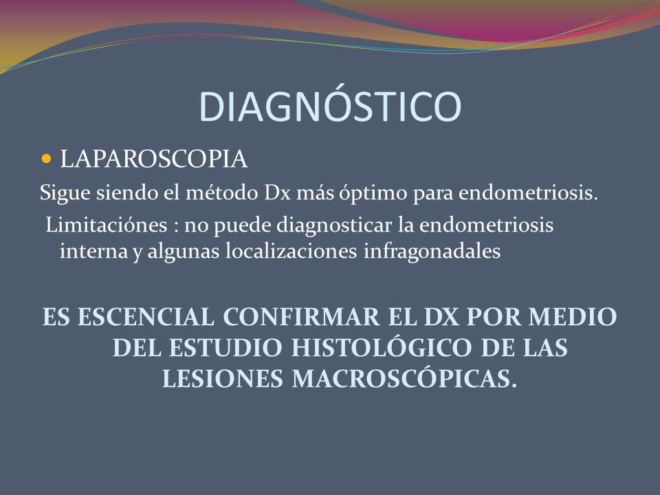 DIAGNÓSTICO LAPAROSCOPIA Sigue siendo el método Dx más óptimo para endometriosis. Limitaciónes : no puede diagnosticar la endometriosis interna y algu