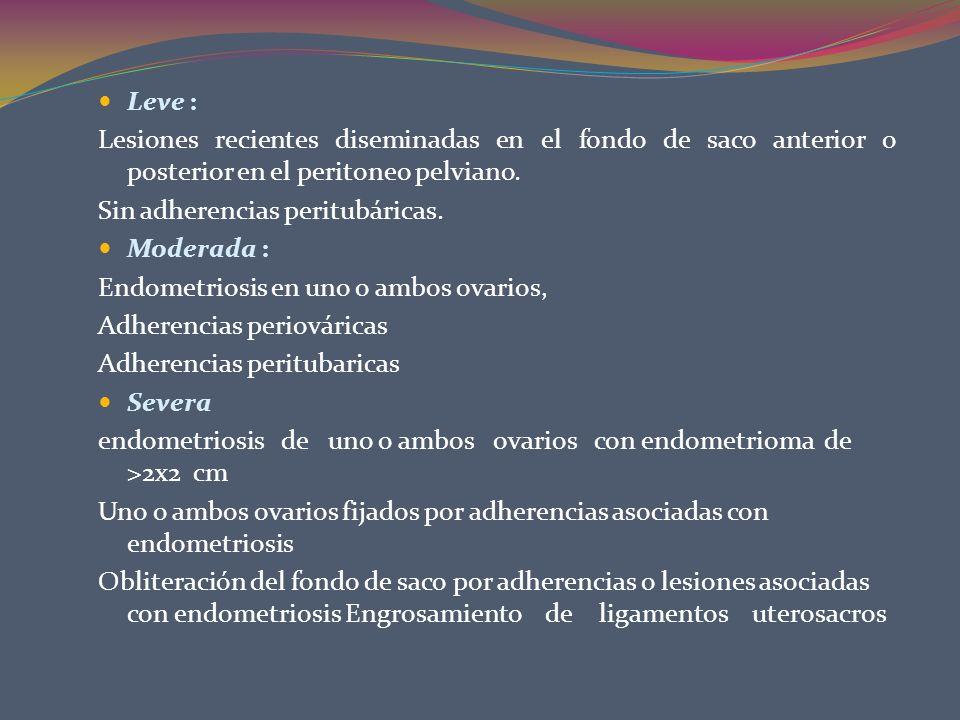 Leve : Lesiones recientes diseminadas en el fondo de saco anterior o posterior en el peritoneo pelviano. Sin adherencias peritubáricas. Moderada : End