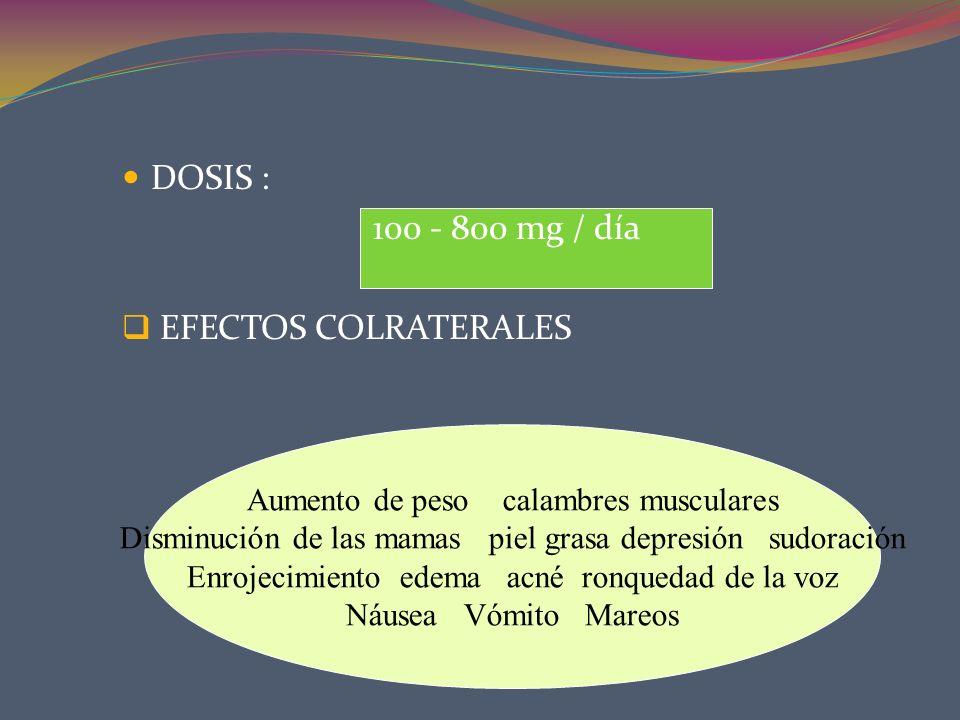 DOSIS : 100 - 800 mg / día EFECTOS COLRATERALES Aumento de peso calambres musculares Disminución de las mamas piel grasa depresión sudoración Enrojeci