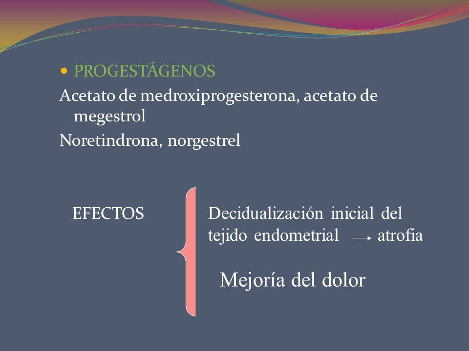 PROGESTÁGENOS Acetato de medroxiprogesterona, acetato de megestrol Noretindrona, norgestrel EFECTOS Decidualización inicial del tejido endometrial atr