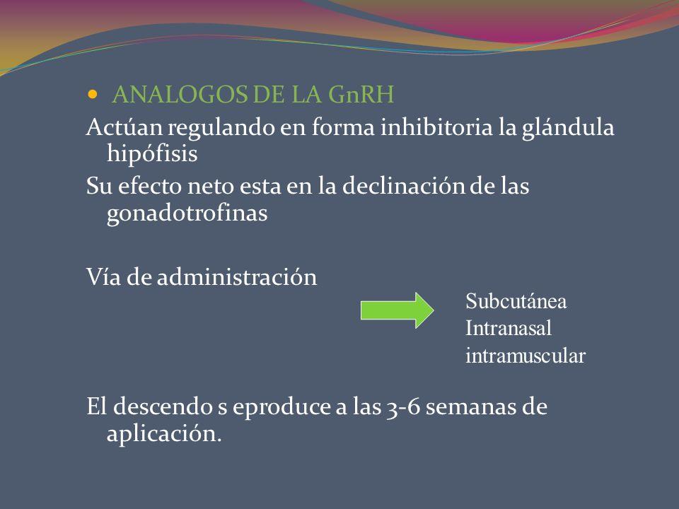 ANALOGOS DE LA GnRH Actúan regulando en forma inhibitoria la glándula hipófisis Su efecto neto esta en la declinación de las gonadotrofinas Vía de adm