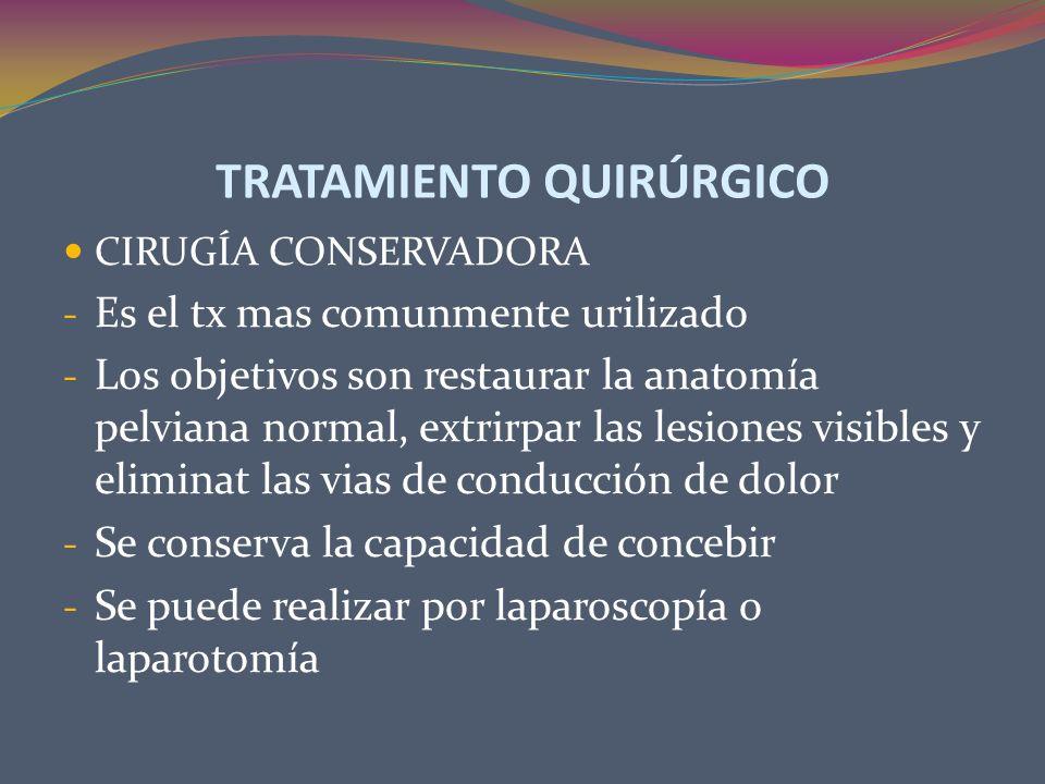 TRATAMIENTO QUIRÚRGICO CIRUGÍA CONSERVADORA - Es el tx mas comunmente urilizado - Los objetivos son restaurar la anatomía pelviana normal, extrirpar l