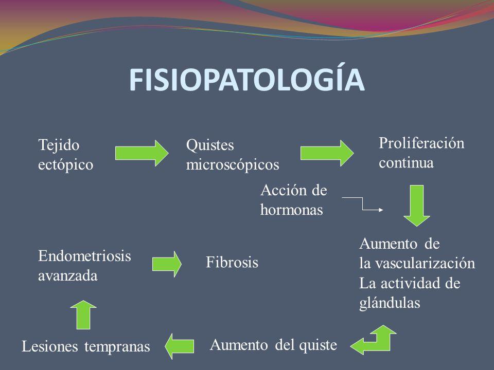 FISIOPATOLOGÍA Tejido ectópico Quistes microscópicos Proliferación continua Aumento de la vascularización La actividad de glándulas Acción de hormonas