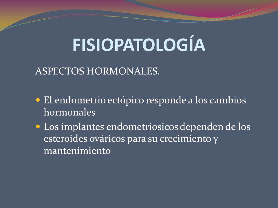 FISIOPATOLOGÍA ASPECTOS HORMONALES. El endometrio ectópico responde a los cambios hormonales Los implantes endometriosicos dependen de los esteroides