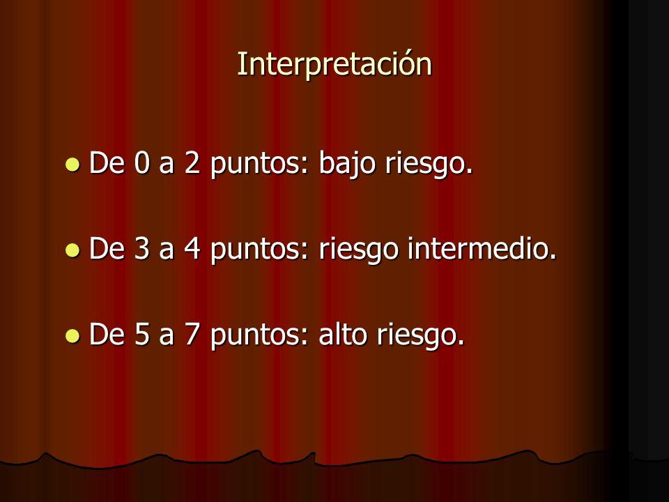 Interpretación De 0 a 2 puntos: bajo riesgo. De 0 a 2 puntos: bajo riesgo. De 3 a 4 puntos: riesgo intermedio. De 3 a 4 puntos: riesgo intermedio. De