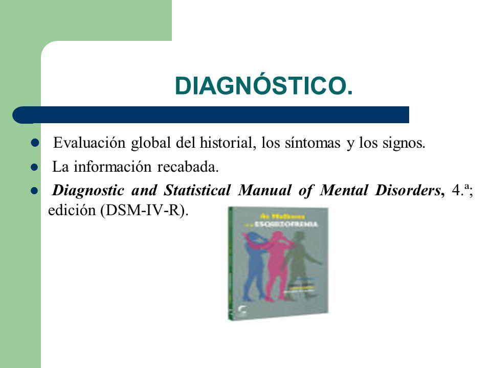 DIAGNÓSTICO.Evaluación global del historial, los síntomas y los signos.