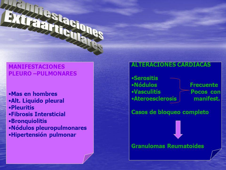 MANIFESTACIONES PLEURO –PULMONARES Mas en hombres Alt. Liquido pleural Pleuritis Fibrosis Intersticial Bronquiolitis Nódulos pleuropulmonares Hiperten