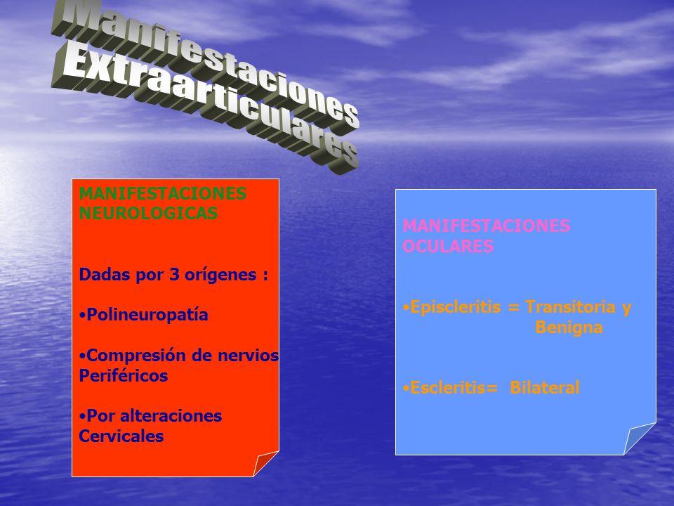 MANIFESTACIONES NEUROLOGICAS Dadas por 3 orígenes : Polineuropatía Compresión de nervios Periféricos Por alteraciones Cervicales MANIFESTACIONES OCULA