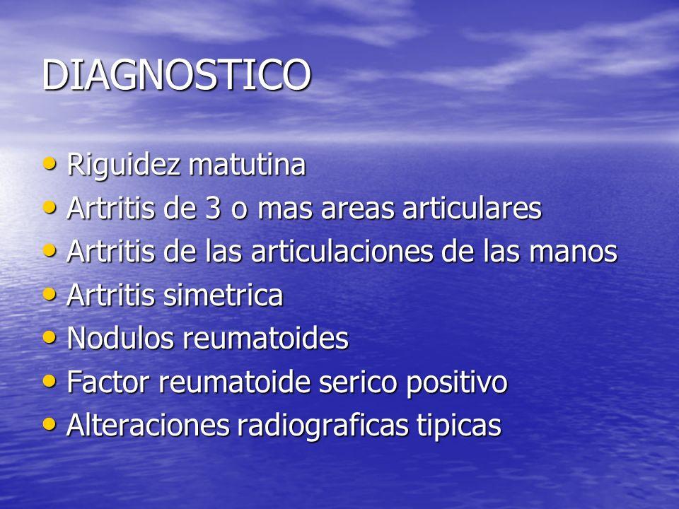 DIAGNOSTICO Riguidez matutina Riguidez matutina Artritis de 3 o mas areas articulares Artritis de 3 o mas areas articulares Artritis de las articulaci