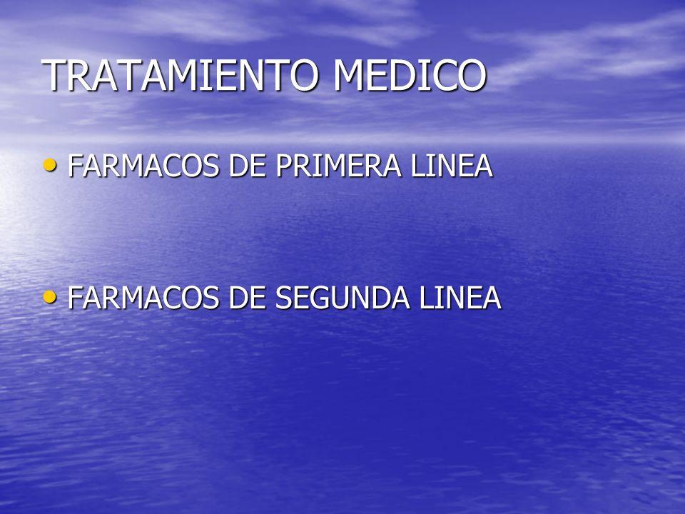 TRATAMIENTO MEDICO FARMACOS DE PRIMERA LINEA FARMACOS DE PRIMERA LINEA FARMACOS DE SEGUNDA LINEA FARMACOS DE SEGUNDA LINEA