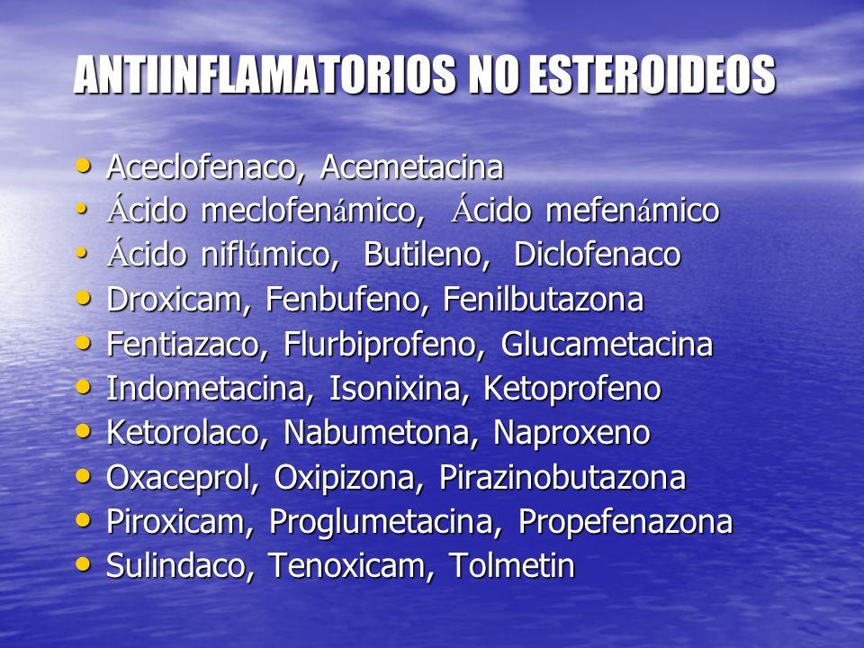 ANTIINFLAMATORIOS NO ESTEROIDEOS Aceclofenaco, Acemetacina Aceclofenaco, Acemetacina Á cido meclofen á mico, Á cido mefen á mico Á cido meclofen á mic