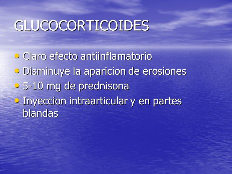 GLUCOCORTICOIDES Claro efecto antiinflamatorio Claro efecto antiinflamatorio Disminuye la aparicion de erosiones Disminuye la aparicion de erosiones 5