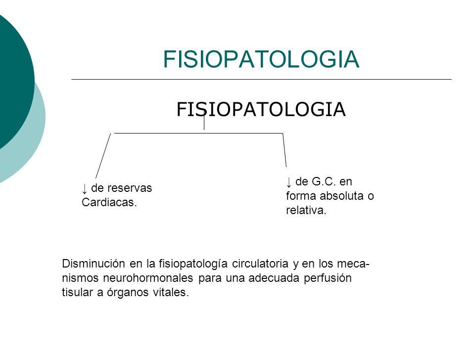 FISIOPATOLOGIA PRINCIPALES CAMBIOS: - Disminución del G.C.