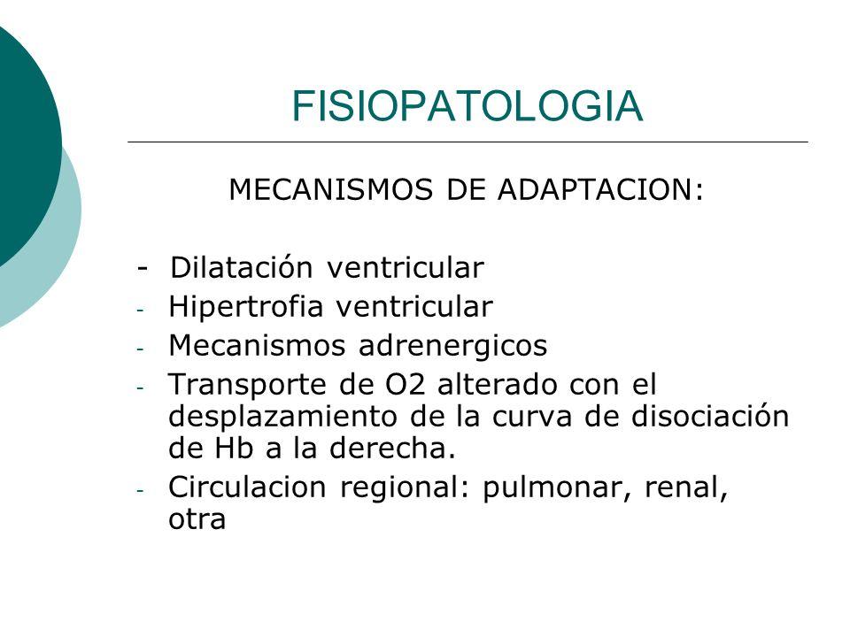CLASIFICACIÓN Desde el punto de vista fisiopatológico: Tipo 1: sobrecarga de volumen o presión de los ventrículos Tipo II: déficit de contractilidad miocárdica Tipo III: falla de función diastólica